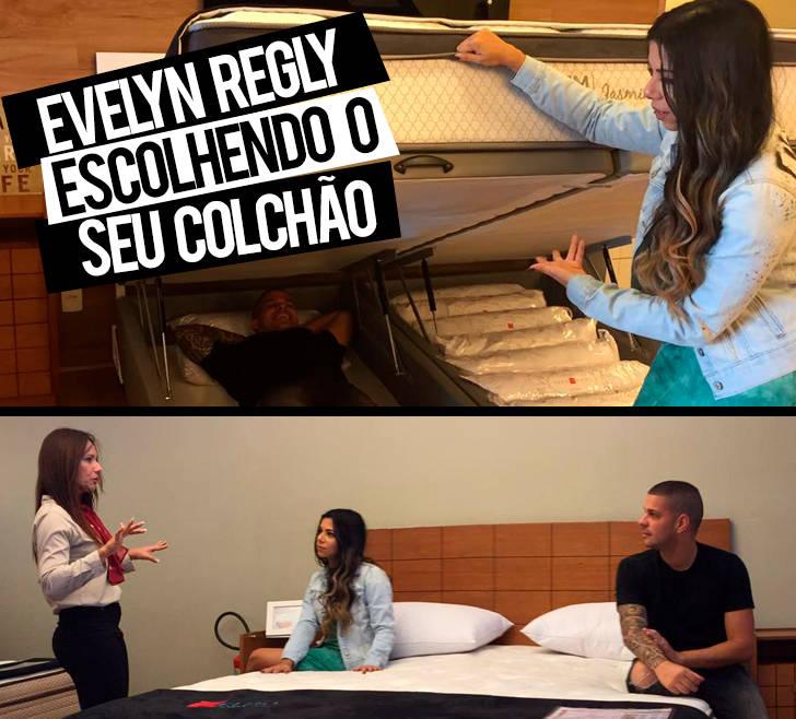 Evelyn Regly escolhendo o seu colchão na loja Euro Colchões