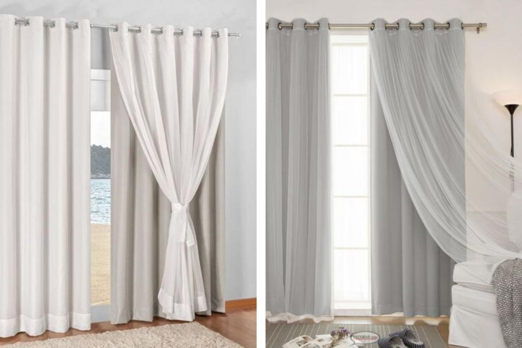 duas fotos com modelos de cortinas black out para sala de estar