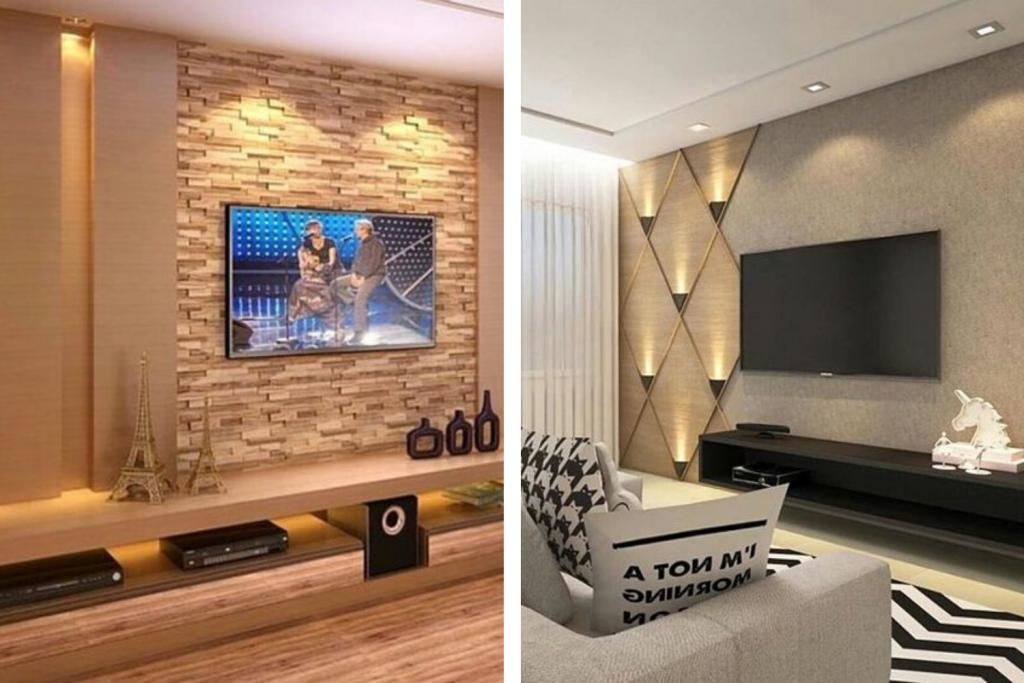 Duas fotos de iluminação indireta para sala de estar