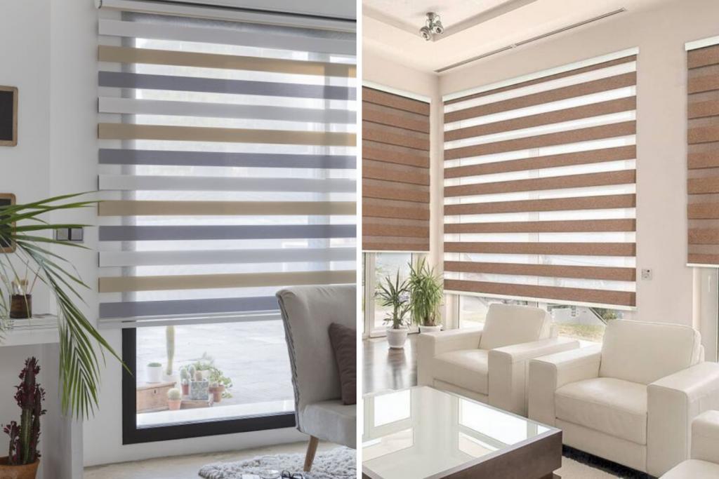 Duas fotos com modelos de persianas para sala de estar
