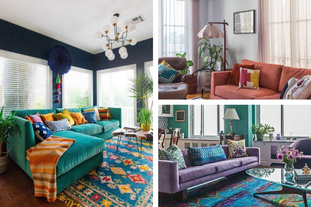 três fotos de sofás coloridos. Na primeira foto um verde, na segunda um sofá laranja e na terceira um lilás