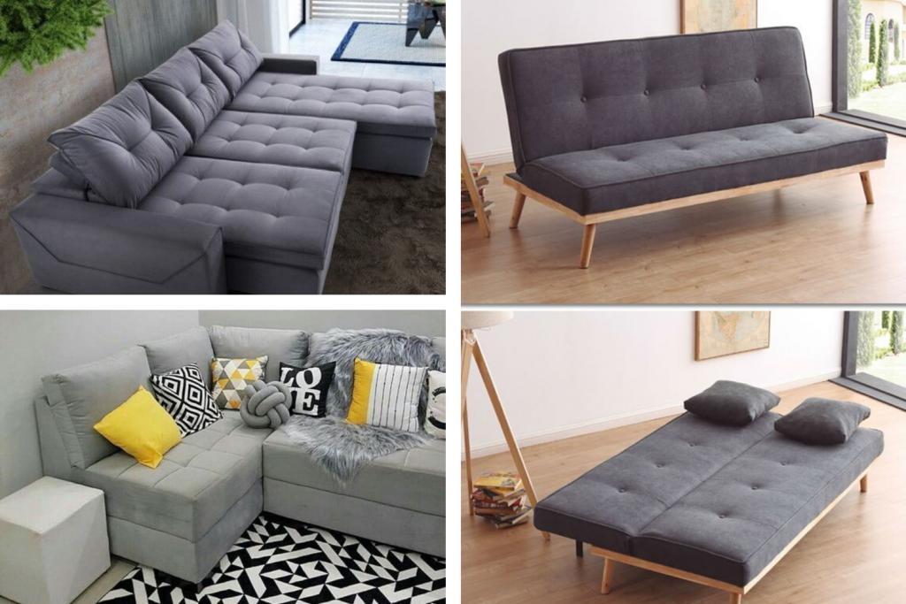 3 modelos de sofá para sala de estar. O Primeiro retrátil, o segundo de canto e o terceiro um sofá cama